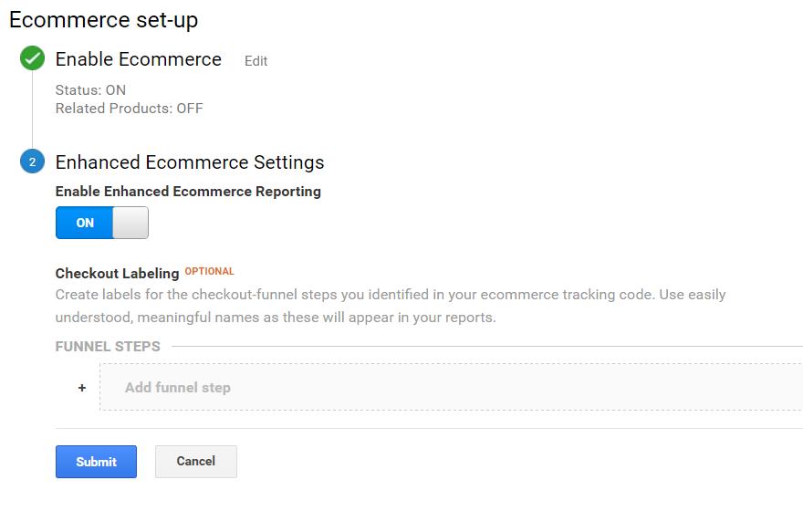 Enable Enhanced Ecommerce in Google Analytics