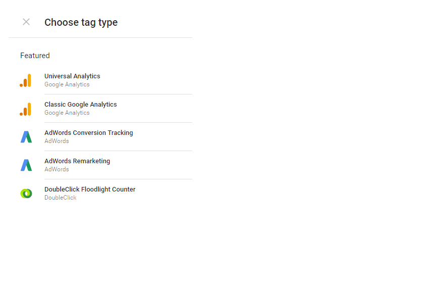 Choose Universal Analytics tag type in Google Tag Manager