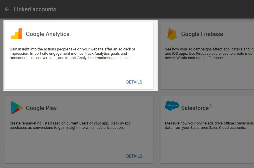 Google Analytics card in Google Ads