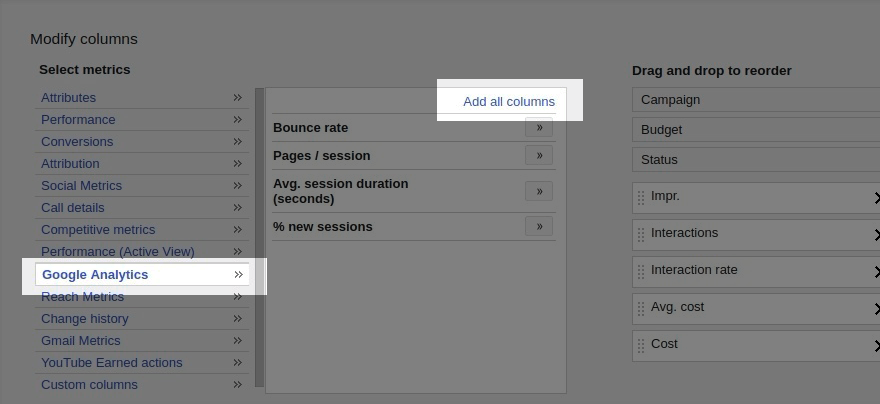 Add Google Analytics metrics to the Ads report