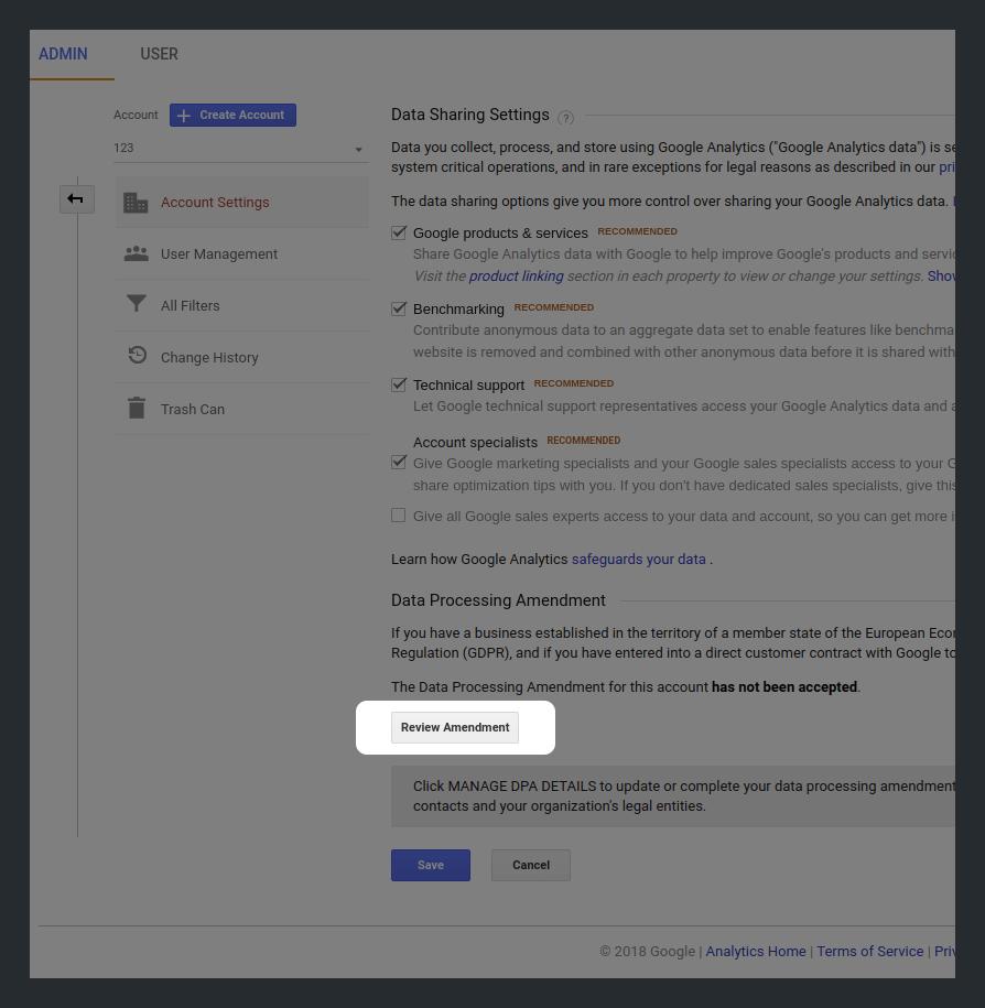 Review Amendment in Google Analytics
