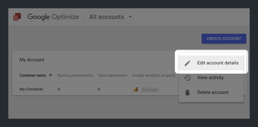 Edit account details in Google Optimize