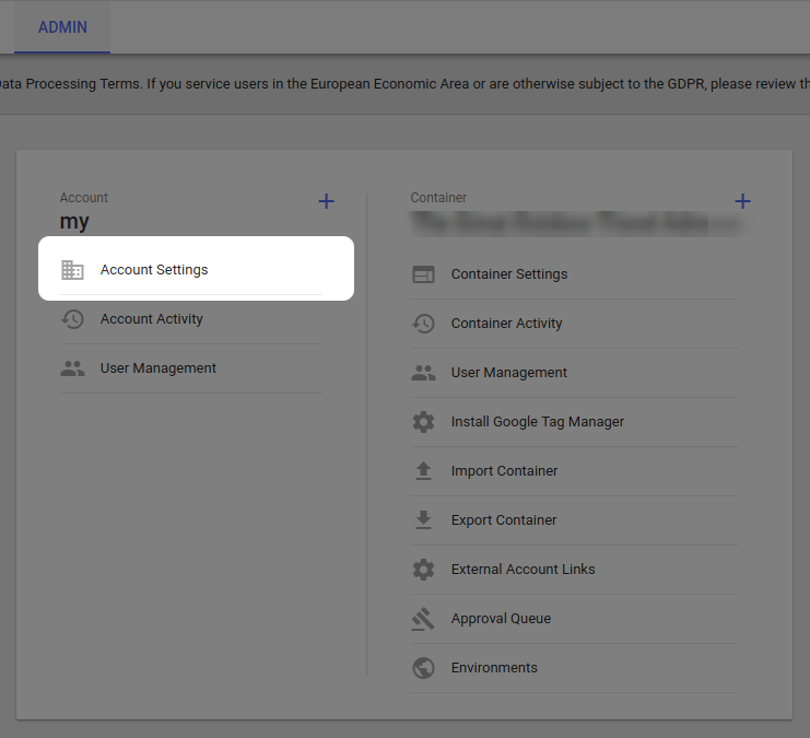 Account Settings in Google Tag Manager