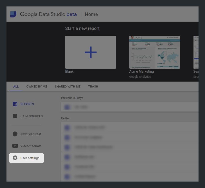 User Settings in Google Data Studio