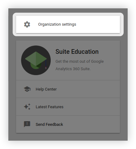 Organization settings in Google Analytics Suite Home