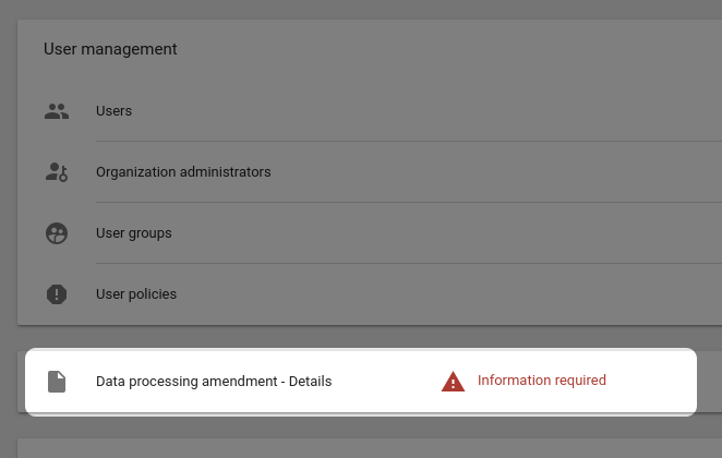 Details of data processing amendment in Google Analytics Suite Home