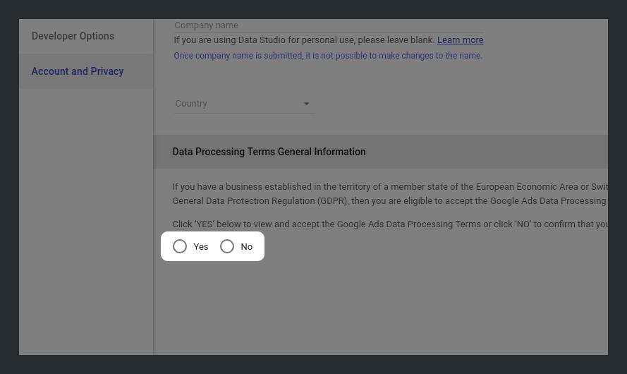 Data Processing Terms General Information in Google Data Studio