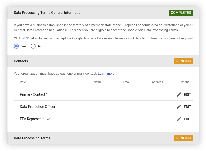 Providing legal entities and contacts in Google Data Studio