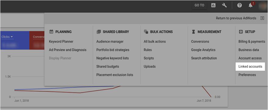 Google AdWords Setup menu