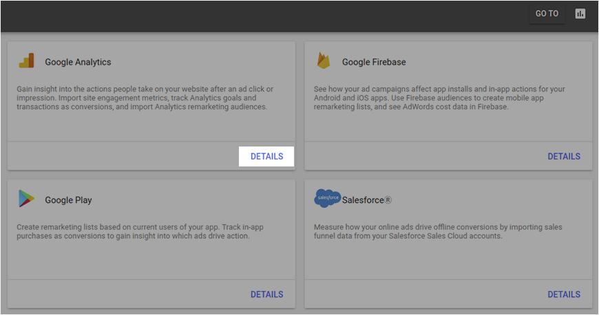 Choosing the necessary Google Analytcis integration