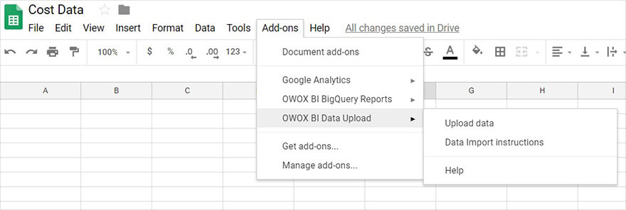 Cost data import with Google Sheets add-on