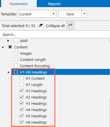 H1-H6 headings analysis in Netpeak Spider