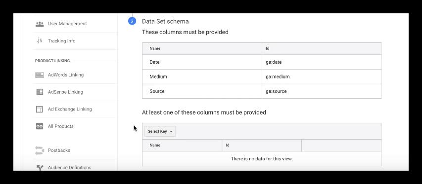 downloading data set schema inGoogle Analytics