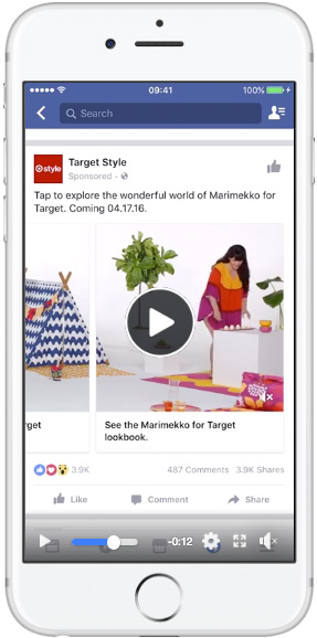 Facebook feed — carousel ads — video