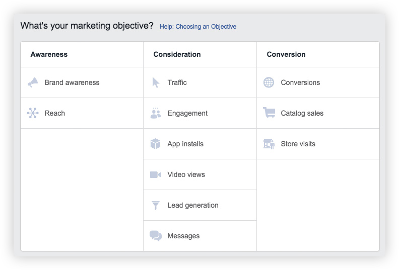 Marketing objective options for Facebook campaigns