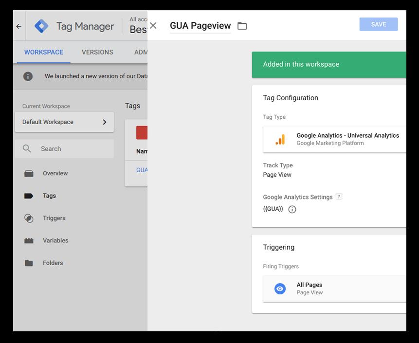 Google Analytics— Universal Analytics tag type
