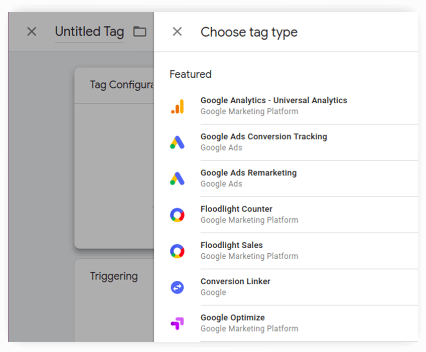 tag type selection inGoogle Tag Manager